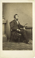 Photography:CDVs, Rare Brady / Anthony Abraham Lincoln Carte de Visite. An exceptionally choice example of this desirable carte, near-mint...