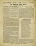 """Political:Posters & Broadsides (1896-present), Rare Lincoln Campaign Broadside for 200,000 Black Soldiers in theUnion Army. Measures 9.25"""" x 11.75"""", medium, even toning, ..."""