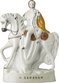 Political:3D & Other Display (pre-1896), Massive Civil War-Era Staffordshire Ceramic Figure of Lincoln onHorseback. This imposing large china figurine is one of the...