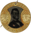 Political:Ferrotypes / Photo Badges (pre-1896), 1860 Lincoln & Johnson Galt Frame Ferrotype. This popularvariety is in a large, 25mm size, and features a most distinctive...