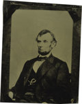 Photography:Tintypes, 1/4th Plate Abraham Lincoln Tintype taken from the celebratedAnthony Berger portrait that is also found on $5 bills. This i...