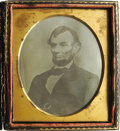 Political:Civil War, Late 1/6th Plate Daguerreotype of Abraham Lincoln copied from the original portrait by photographer Anthony Berger. This fam...