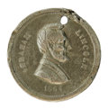 Political:Tokens & Medals, Scarce 1864 Lincoln Campaign Token in Nickel. Listed as Sullivan-Dewitt AL 1864-74, measuring 18mm. The obverse features a b...