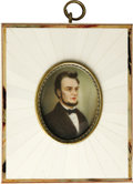 Political:3D & Other Display (pre-1896), Outstanding Lincoln Portrait Miniature on Ivory. An absolutely beautiful and colorful miniature painting of Abraham Lincoln ...