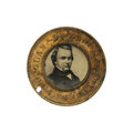 """Political:Pinback Buttons (1896-present), Choice 1860-Dated Stephen Douglas & Herschel Johnson Ferrotype. A beautiful representative example for the """"Little Giant"""". F..."""