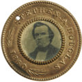 Political:Ferrotypes / Photo Badges (pre-1896), Choice 1860 Douglas & Johnson Campaign Ferrotype, with LessCommon Portrait. The brass frames retain most of their original ...