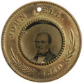Political:Ferrotypes / Photo Badges (pre-1896), Virtually Pristine 1860 Bell/Everett Campaign Ferrotype. A verychoice example, although the Everett side is somewhat dark (...