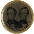 Political:Ferrotypes / Photo Badges (pre-1896), Very Rare Breckinridge & Lane 1860 Jugate Ferrotype. Part of a set issued for all four 1860 tickets, these historic items ar...