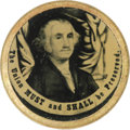 "Political:Ferrotypes / Photo Badges (pre-1896), Choice Civil War Patriotic Ferrotype. Image of George Washingtontaken from a print, with ""The Union Must and Shall Be Prese..."