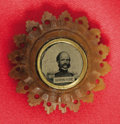Political:Ferrotypes / Photo Badges (pre-1896), General Ambrose Burnside Civil War Ferrotype Clothing Button. Tinyferro portrait, set into ornate button of horn-like mater...