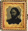"""Photography:Tintypes, Choice John C. Frémont Tintype Photo. Contained in a very nice1.75"""" x 2"""" embossed leather case. This is the same pose found..."""