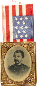 "Political:Ferrotypes / Photo Badges (pre-1896), George McClellan Ferrotype Pin. The Democratic candidate for 1864is shown in his Union general's uniform. Ironically, ""Litt..."