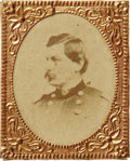 Political:Ferrotypes / Photo Badges (pre-1896), Exceptional, Larger-size George McClellan 1864 Campaign PortraitBadge, with Unlisted Pose. Not to be confused with the stan...