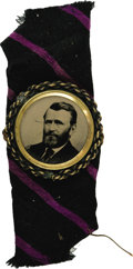Political:Ferrotypes / Photo Badges (pre-1896), Choice Ulysses S. Grant Ferrotype Pin. Attached to a colorful smallpiece of period cloth, as found. Virtually pristine but ...