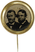 Political:Ferrotypes / Photo Badges (pre-1896), 1868 Grant & Colfax Jugate Ferrotype. An attractive variety,with conjoined busts and larger-size ferro surface. One black a...
