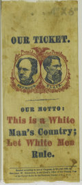 """Political:Ribbons & Badges, Very Rare 1868 Seymour & Blair """"This is a White Man's Country"""" Ribbon. Perhaps 6 to 8 examples are known of this historic ri..."""