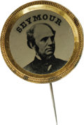Political:Ferrotypes / Photo Badges (pre-1896), Choice Larger-size 1868 Horatio Seymour Ferrotype Pin. Superb,virtually pristine example with original pin. Diameter 23mm....