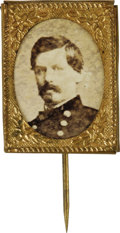 "Political:Ferrotypes / Photo Badges (pre-1896), Fine George McClellan 1864 Campaign Pin. Paper photo, an uncommonpose, is set into typical ""gem"" sized brass foil frame, wi..."