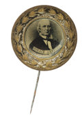 Political:Ferrotypes / Photo Badges (pre-1896), Rare 1872 Horace Greeley Ferrotype Pin in Pristine Condition.Greeley is tough in any form, and especially in this condition...