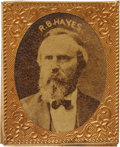 Political:Ferrotypes / Photo Badges (pre-1896), Unlisted, Oversized 1876 Rutherford B. Hayes Photo Badge. Similarto the shell on Sullivan's RBH 1876-26 but with the photo ...