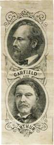 Political:Ribbons & Badges, Fine 1880 Garfield & Arthur Jugate Ribbon. A scarce ticket to find on a ribbon, and this is a large, attractive variety in e...