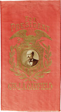 """Political:Ribbons & Badges, Scarce 1880 James A. Garfield """"For President"""" Ribbon. The ribbon itself is in good shape, with the applied paper photo in se..."""