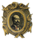 Political:Ferrotypes / Photo Badges (pre-1896), Fancy 1880 James A. Garfield Ferrotype. All Garfield portrait pinsare scarce, and this is one of the most attractive variet...