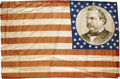 Political:Textile Display (pre-1896), Fine, Large 1884 Grover Cleveland Cotton Cloth Campaign Flag.Although Cleveland ran three times, this flag can be dated to ...