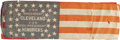 Political:Textile Display (pre-1896), Fragmentary 1884 Cleveland & Hendricks Silk Campaign Flag. Forsome strange reason this flag was cut in half horizontally. T...