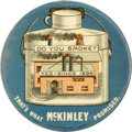 "Political:Pinback Buttons (1896-present), Wonderful 1900 William McKinley ""Factory Pin"". This favorite designfeatures a theme of Republican Prosperity: the Full Dinn..."