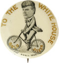 "Political:Pinback Buttons (1896-present), Extremely Rare 1 1/4"" Size McKinley Cartoon Button, Riding aBicycle. This great design is customarily seen in 7/8"" size, an..."