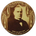 """Political:Pinback Buttons (1896-present), Unusual and Beautiful Large 4"""" William McKinley Memorial Button. We cannot recall seeing this beauty before, and it is certa..."""