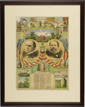 "Political:Posters & Broadsides (1896-present), McKinley & Hobart Campaign Poster titled ""OUR HOME DEFENDERS"". This wonderful 1896 color poster offers voters the choice bet..."