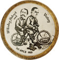 "Political:Pinback Buttons (1896-present), Very Rare 1896 McKinley & Hobart ""Bicycle Built for Two"" 1 1/8""Jugate. ""McKinley, Hobart, and Victory"" surrounds the images..."