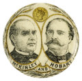 """Political:Pinback Buttons (1896-present), Most Unusual Color-Tinted 7/8"""" McKinley & Hobart Jugate Design. Most attractive, with """"gold coin"""" above their portraits. We ..."""