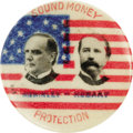 """Political:Pinback Buttons (1896-present), One of the Loveliest 1896 McKinley & Hobart Jugate Designs. This 7/8"""" celluloid lapel stud is in choice condition, and quite..."""