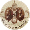 """Political:Pinback Buttons (1896-present), Superb Sepia McKinley & Roosevelt Jugate Rarity. Thismagnificent 1 1/4"""" design features the rising sun's rays above theCap..."""