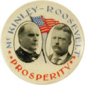 "Political:Pinback Buttons (1896-present), Superb, Colorful 1900 McKinley & Roosevelt Jugate ButtonRarity. We have only seen several examples of this beautiful 11/4""..."