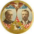 """Political:Pinback Buttons (1896-present), Dramatic Large, Multicolor 1 3/4"""" McKinley & Roosevelt Jugate Button. Without a doubt one of the most beautiful of all jugat..."""