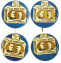 """Political:Pinback Buttons (1896-present), Set of Four Different Variants of the Classic McKinley & Roosevelt 1 1/4"""" """"Full Dinner Bucket"""" Jugate. Consisting of: 1) Wit... (Total: 4 )"""
