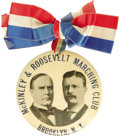 "Political:Pinback Buttons (1896-present), Fantastic 4"" McKinley & Roosevelt Jugate Button from Brooklyn,New York. Clearly the stylistic ""mate"" to the Houston Bryan&..."