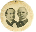 """Political:Pinback Buttons (1896-present), Bryan-Stevenson """"Marching Club"""" 4"""" Jugate Button from Houston,Texas. This giant jugate has to be one of the top Bryan-Steve..."""