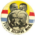 "Political:Pinback Buttons (1896-present), Full-Color Bryan & Stevenson Jugate ""Eclipse"" Button, ThePremier Celluloid in the Loewenstern Collection. This eclipsethem..."