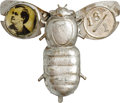 """Political:Pinback Buttons (1896-present), William Jennings Bryan Mechanical Silver Bug Pin. The somewhat scarcer variety with """"16/1"""" instead of Sewall's portrait on o..."""