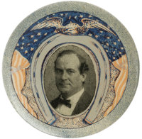 """Magnificent Red, White, Blue, and Silver William Jennings Bryan Button Design, with 1900 Pose. This large 1 1/2"""" de..."""