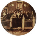 """Political:Pinback Buttons (1896-present), Classic William Jennings Bryan """"16 to 1"""" Button. This unique 1 1/2"""" design shows Bryan on a front porch, surrounded by sixte..."""