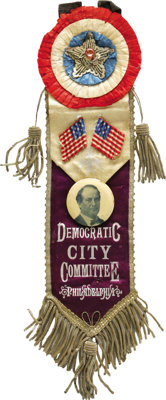 Spectacular, Huge William Jennings Bryan Badge From Pennsylvania. The ultimate Bryan centerpiece! This red, white, blue...