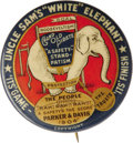 """Political:Pinback Buttons (1896-present), Classic Parker & Davis """"White Elephant"""" Campaign Button. 1 1/2"""" celluloid pinback issued in support of Parker & Davis in 190..."""