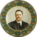 Political:3D & Other Display (1896-present), Very Scarce Theodore Roosevelt Lithographed Tin Calendar Plate. Large litho trays and signs using this John Singer Sargent i...