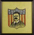 Political:Textile Display (1896-present), Teddy Roosevelt Hand-Stitched Banner. A folksy early 20th centuryhand-stitched rendering of President Roosevelt. Teddy's bu...